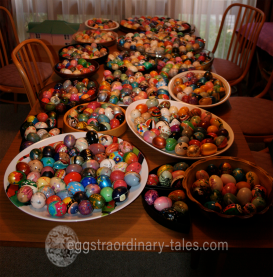 The dining table covered in bowls of eggs