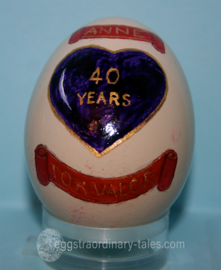 40th anniversary egg with purple heart