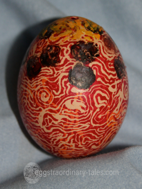dyed spaghetti egg