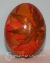 Egg with maple leaves
