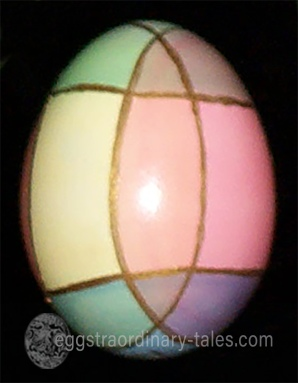 overlapping dyed egg