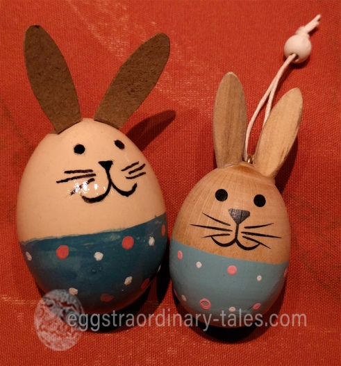 wooden bunny and bunny egg