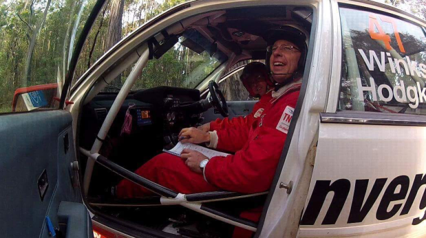 Steve in rally car